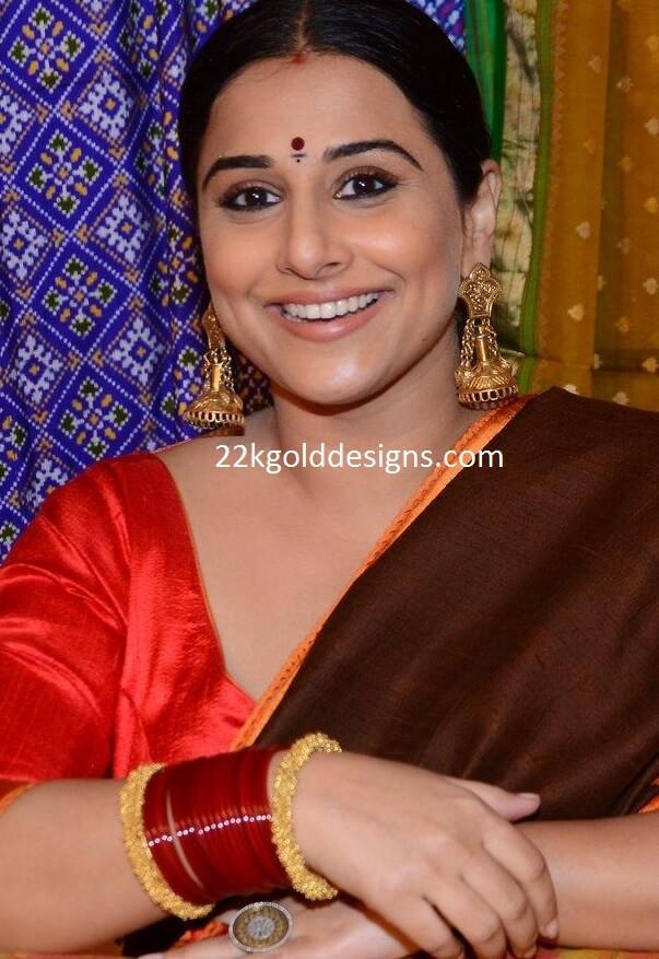 Vidya Balan in Designer Antique Jhumkas