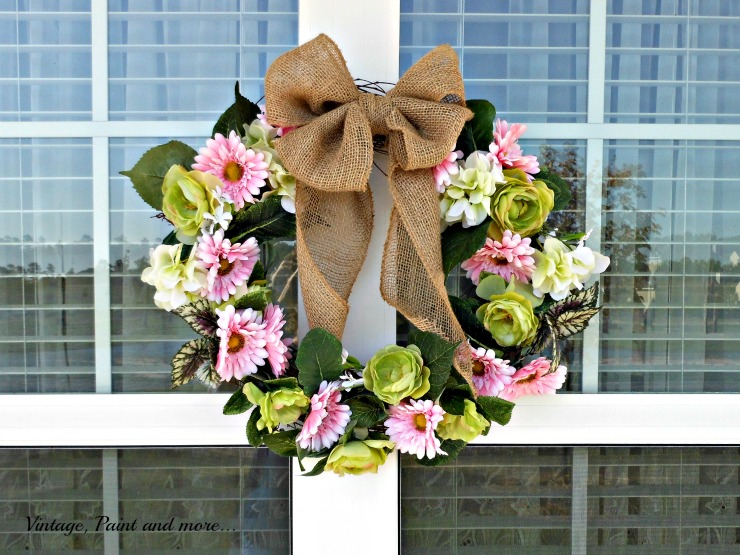 Vintage, Paint and more.. DIY Spring faux flwoer wreath with burlap riibbon