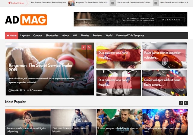 Chia sẽ theme blogger premium: Ad mag