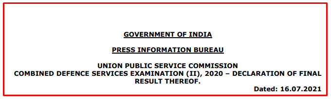 UPSC Combined Defence Services Examination (II), 2020 - Final Result Out
