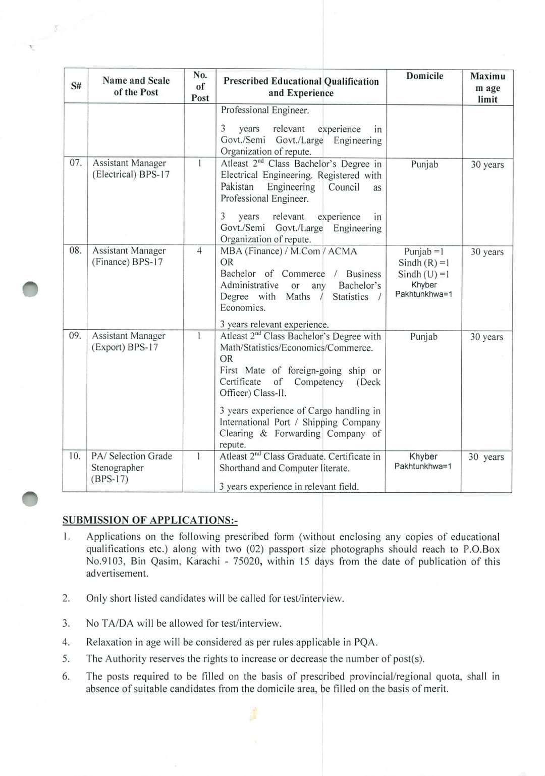 Latest Port Qasim Authority PQA Karachi Jobs 2020 for Assistant Manager, Personal Assistant, Stenographer & more