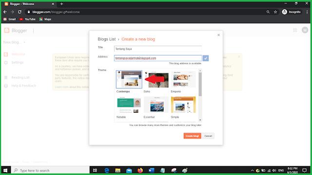 pilih template blog blogger