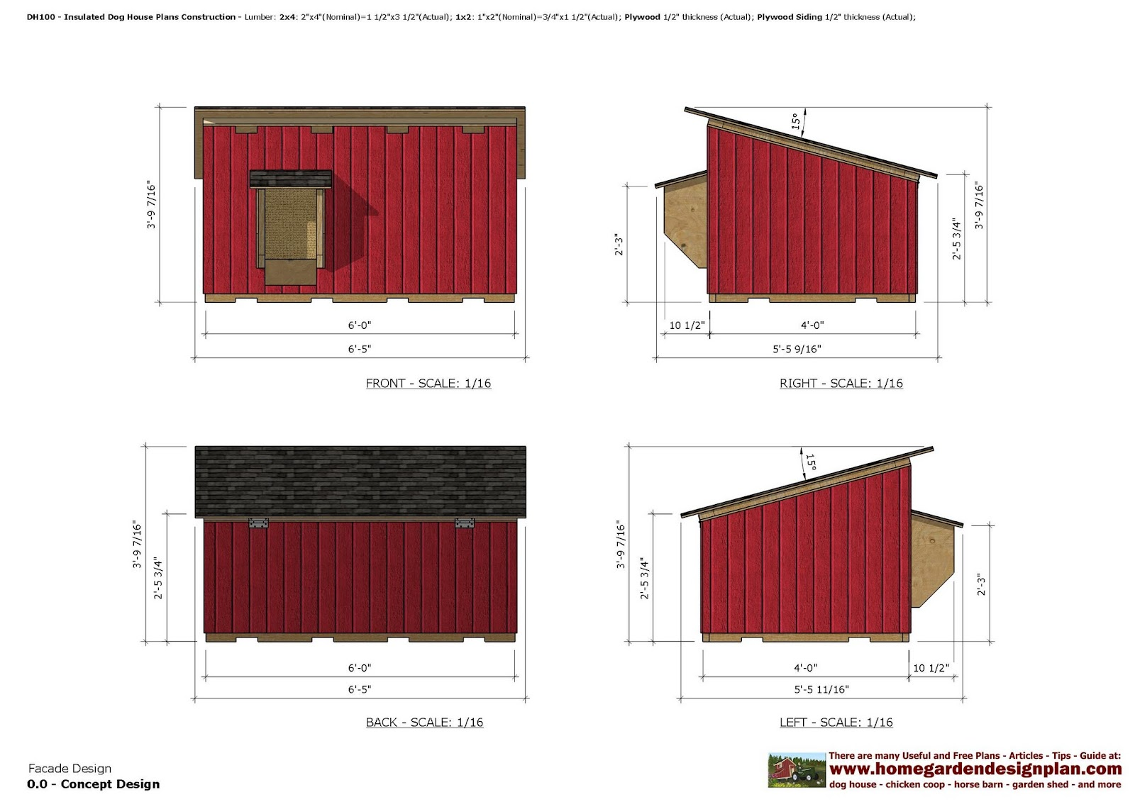home garden plans dh100 insulated dog house plans dog house design how to build an. Black Bedroom Furniture Sets. Home Design Ideas