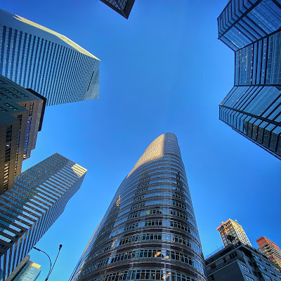 Tall buildings, street POV