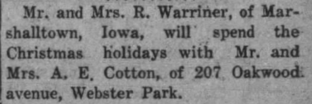 The News Times, Webster Groves, Missouri newspaper mention of Mr. and Mrs. A. E. Cotton living at 207 Oakwood Avenue