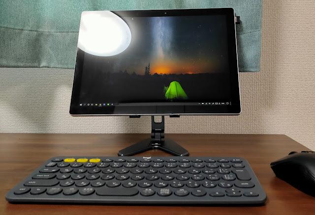 タブレットスタンドを追加してデスクトップ風PCにする