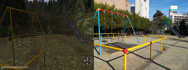 The swings from the opposite side; the slide can be seen in the background in both the game & photo.