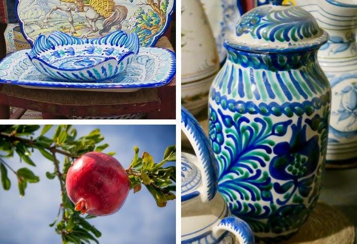 スペインのマドリードで見つけたグラナダ産の緑と青が美しい陶器