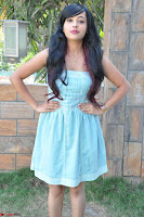 Sahana New cute Telugu Actress in Sky Blue Small Sleeveless Dress ~  Exclusive Galleries 047.jpg