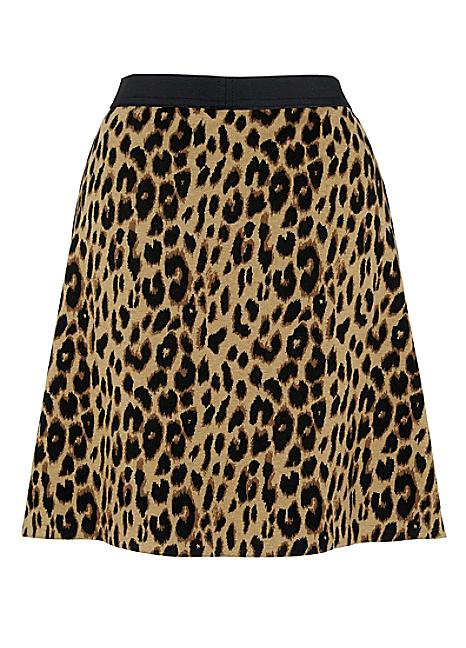 leopard print A-line skirt