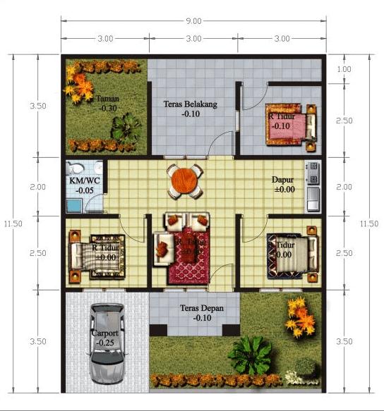 Gambar Denah dan Sketsa Rumah Minimalis 2