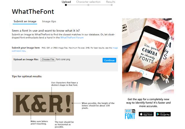 Mencari font di Situs WhatTheFont