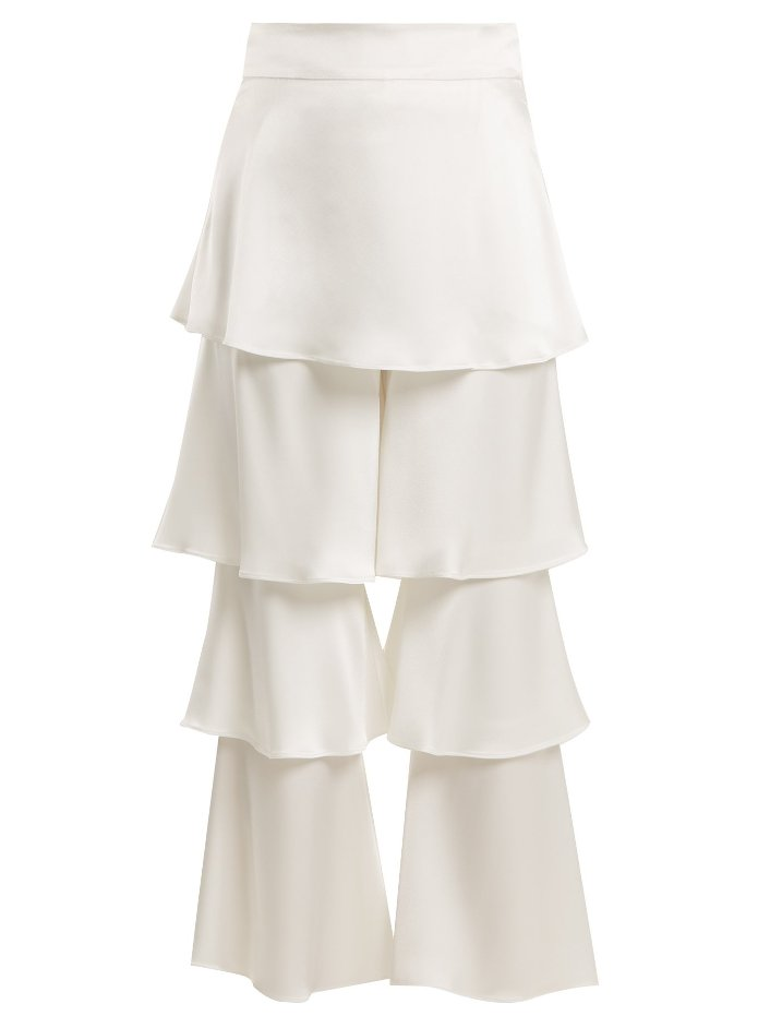 Layered White Satin Trousers With Wide Legs