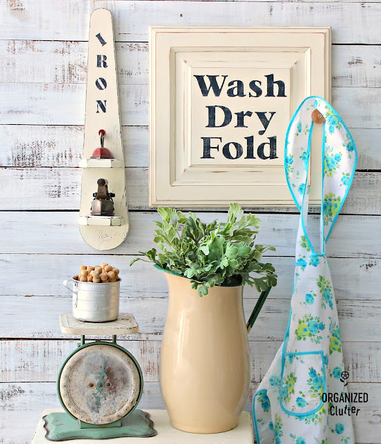 Repurposed Cabinet Door Laundry Room Sign