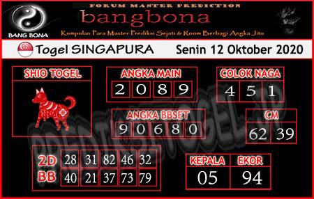 Prediksi Bangbona SGP Senin 12 Oktober 2020