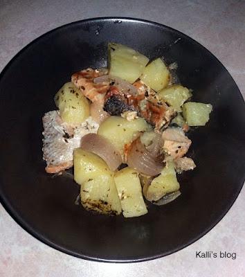 Πέρκα με πατάτες στον φούρνο