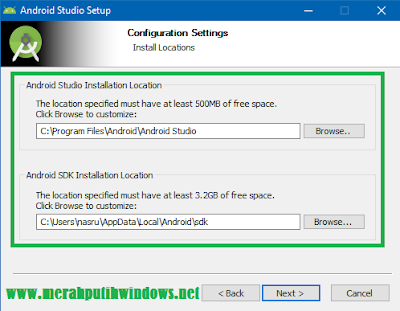 configuration settings of android studio