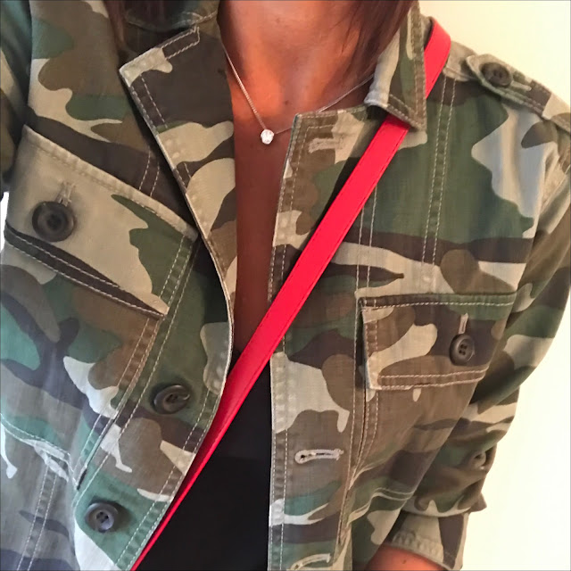 my midlife fashion, j crew camouflage utility shirt jacket, j crew vintage v neck t-shirt, j crew skinny jeans, iro eyelet embellished leather sandals, uterque leather tassel cross body bag
