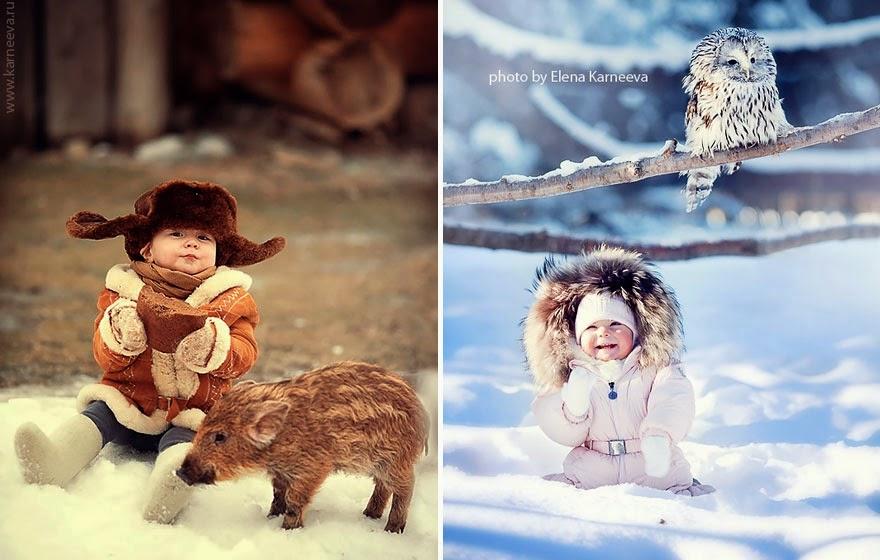 children and animal playing elena karneeva-8