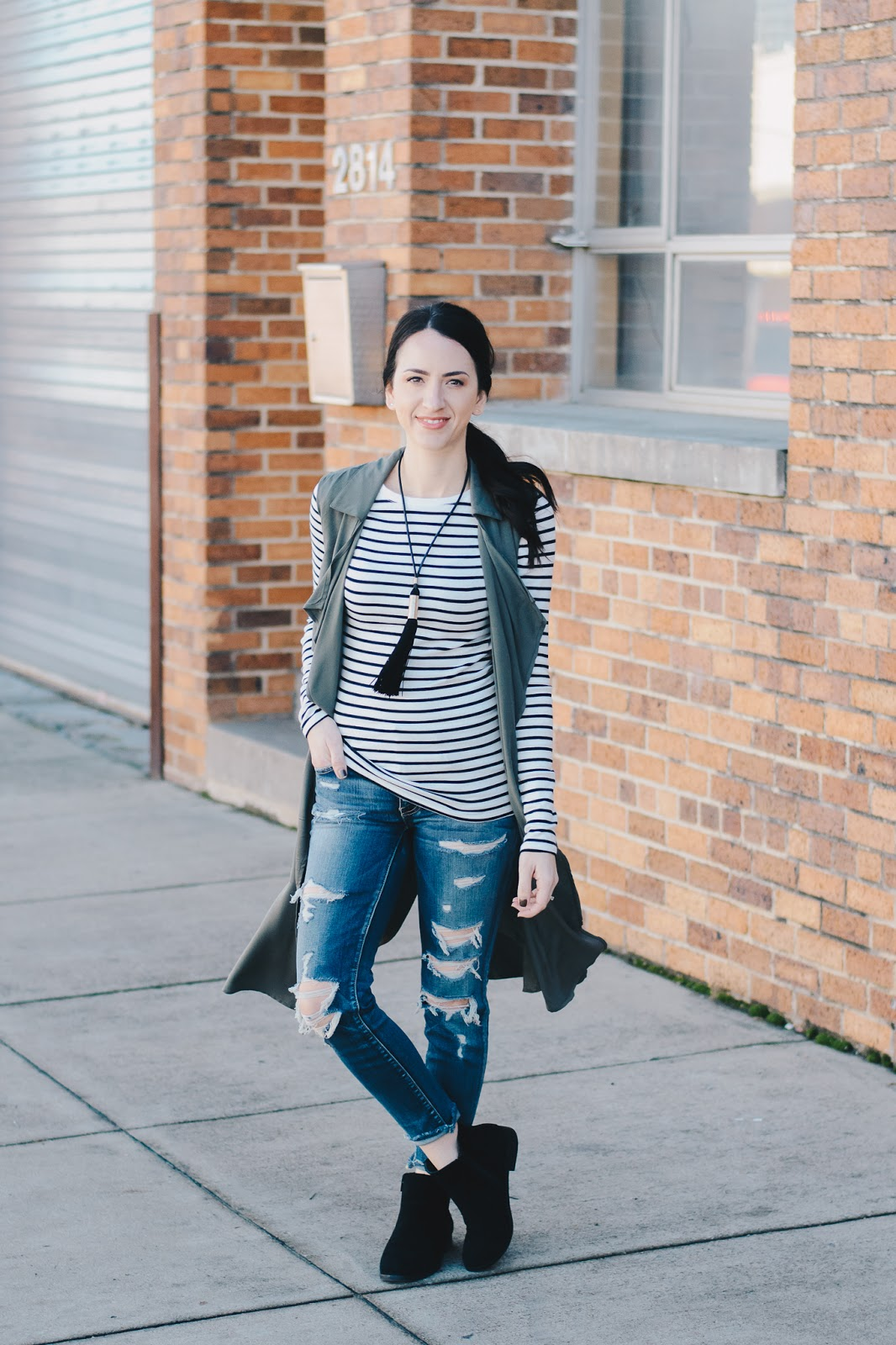 Casual Fall Style in ankle booties, distressed denim and striped basic tee