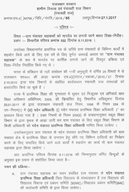 Rajasthan Gram Panchayat Sahayak Recruitment 2018