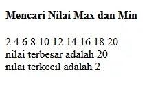 Result Nilai Max dan Min