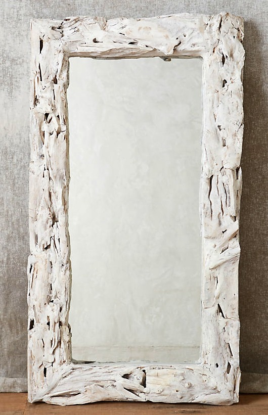 Tall White Washed Driftwood Mirror as Floor Mirror