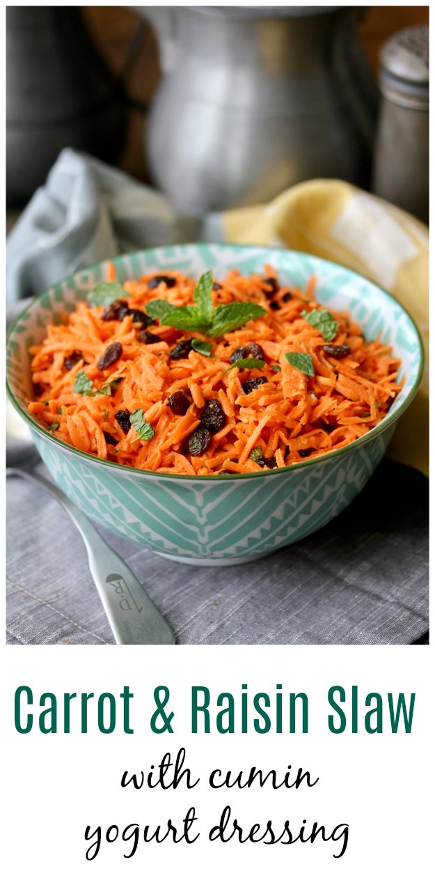 Carrot and Raisin Slaw with Cumin Yogurt Dressing