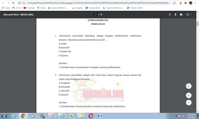 Contoh soal ujian P3K Bidang Pertanian dan Kunci Jawaban