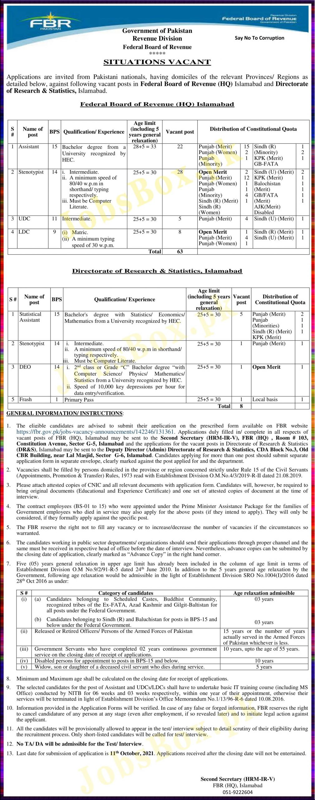 FBR Jobs 2021 – Federal Board of Revenue -Download Application Form