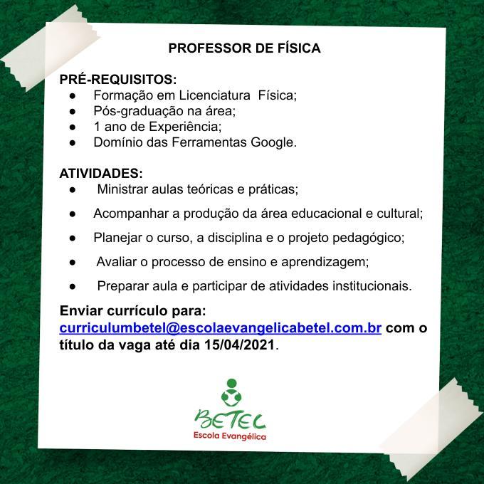 PROFESSOR DE FÍSICA