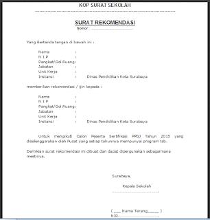 Contoh Surat Rekomendasi Kepala Sekolah SD/ SMP/ SMA