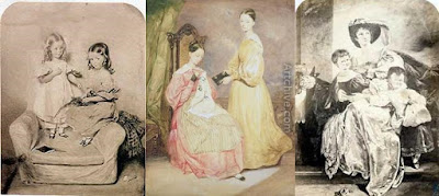 Mrs Nightingale with her daughters, Florence and Parthenope. Photogravure by E. Walker after a watercolour, 1828