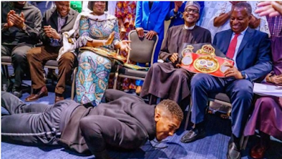VIDEO: Anthony Joshua prostrates before Buhari