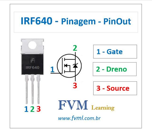 Pinagem - Pinout - Transistor Mosfet - NPN - IRF640 - Características