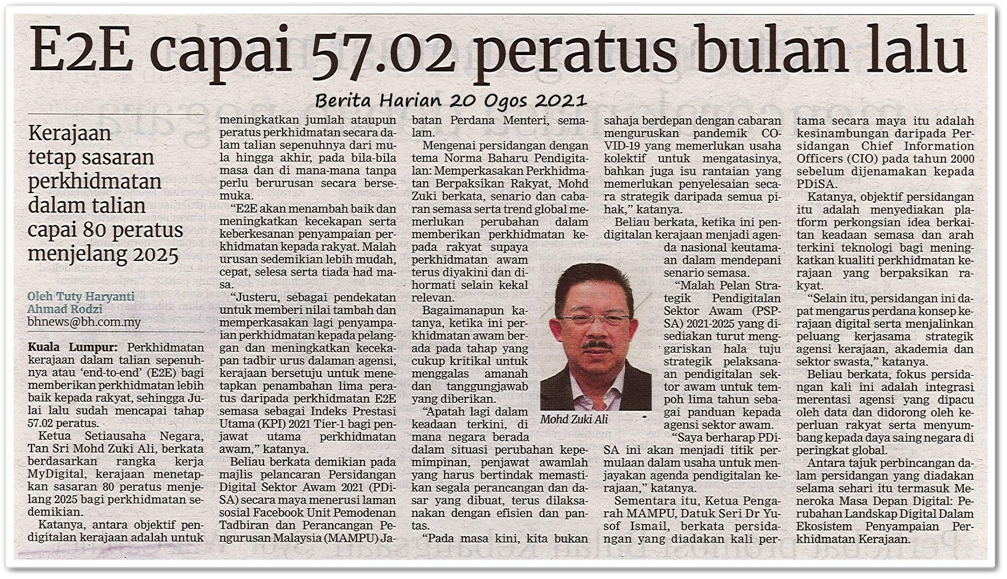 E2E capai 57.02 peratus bulan lalu - Keratan akhbar Berita Harian 20 Ogos 2021
