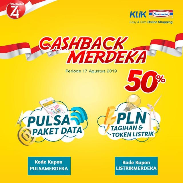 #KlikIndomaret - #Promo Cashback Merdeka 50% Beli Pulsa & PLN (17 Agustus 2019)