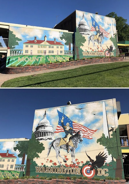 Bunte Malereien mit Bildern zu Washington im Vorort Mt. Vernon, VA