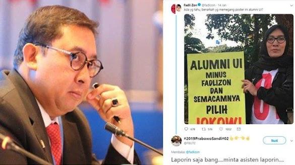 Namanya Dicatut di Poster Dukung Jokowi, Fadli Zon : Saya Laporkan Demi Jaga Nama UI