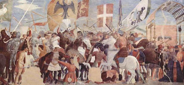Batalla entre el ejército de Heraclio y el ejército persa comandado por Cosroes II. Fresco de Piero della Francesca, ca. 1452