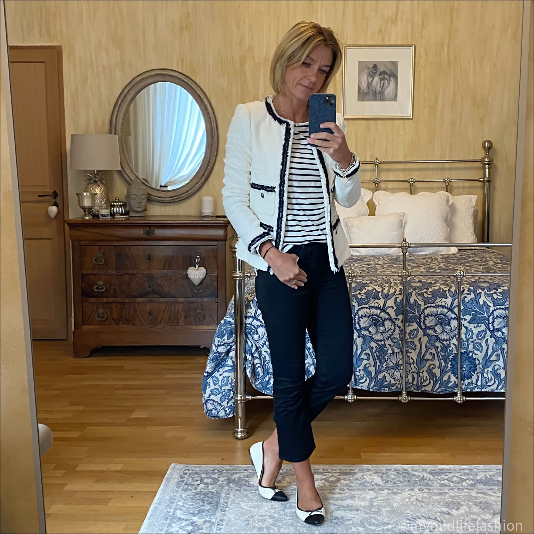 my midlife fashion, l k Bennett Charlee tailored jacket, boden breton, j crew two tone ballet pumps, j crew cropped kick flare jeans