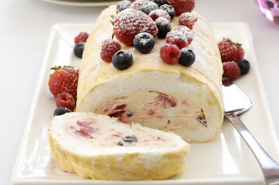 Berry meringue roll desserts recipes