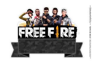 Free Fire: Toppers y Decoración para Tartas, Tortas, Pasteles, Bizcochos o Cakes para Imprimir Gratis.