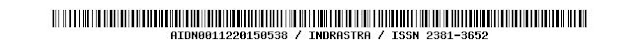 AIDN0011220150538 / INDRASTRA / ISSN 2381-3652