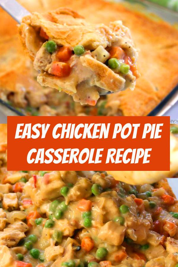 Add this easy Chicken Pot Pie Casserole to your quick weeknight dinner idea list. Pot Pies make for a comforting meal during the fall and winter months. Since this recipe uses store bought crescent rolls for the crust, it comes together quite easily. You can grill a few chicken breasts or use a store bought rotisserie chicken too! #chicken #potpie #casserole #chickenpotpie #comfortfood #dinner