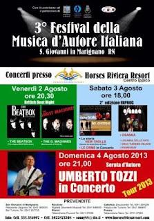 Dal 2 al 4 agosto 2013 si terrà il 3° Festival della Musica d'Autore Italiana