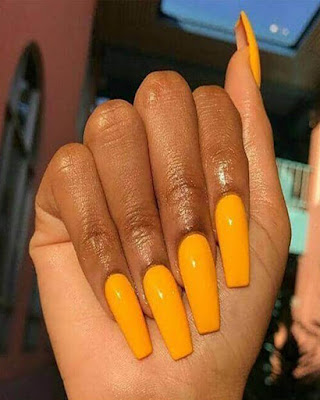 coffin nails desings long yellow summer
