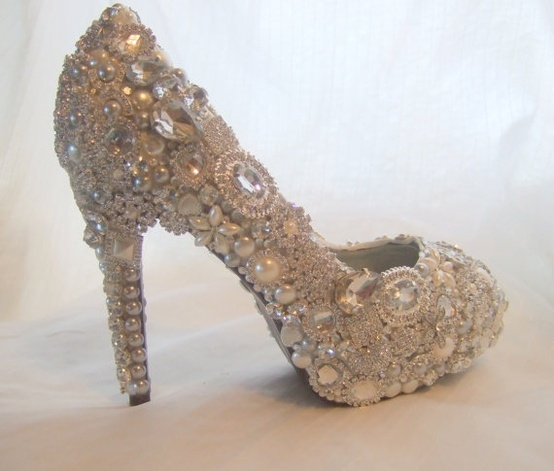 Silver Wedding Shoes Flat With Rhinestones