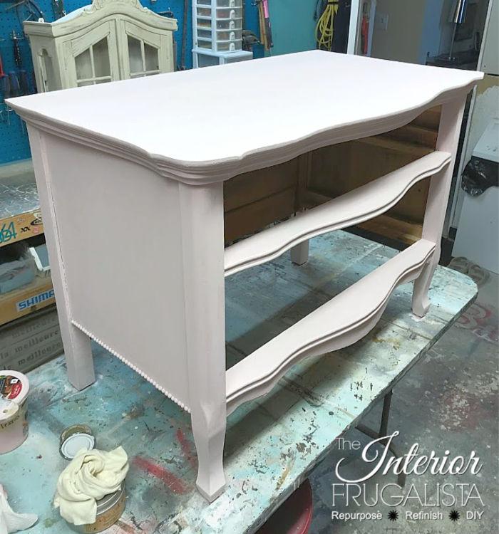 Serpentine Dresser Painted Light Pink