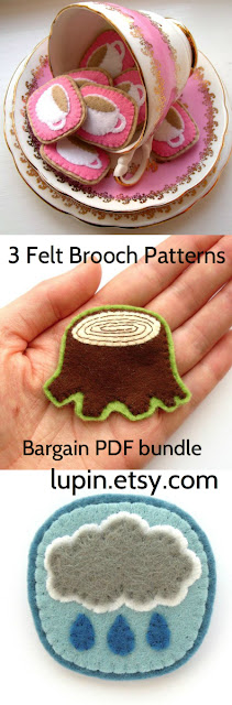3 felt brooch PDF sewing patterns